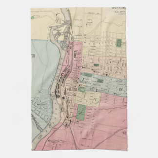 Vintage Map of Manchester New Hampshire (1877) Tea Towels