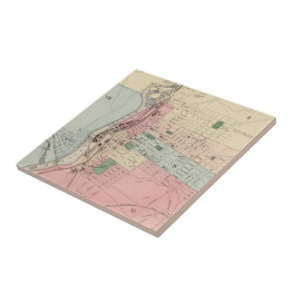 Vintage Map of Manchester New Hampshire (1877) Small Square Tile