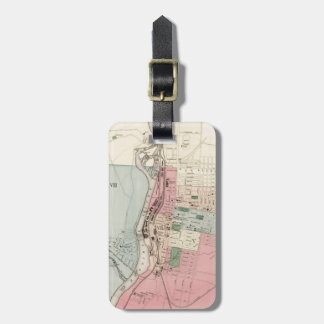 Vintage Map of Manchester New Hampshire (1877) Travel Bag Tags