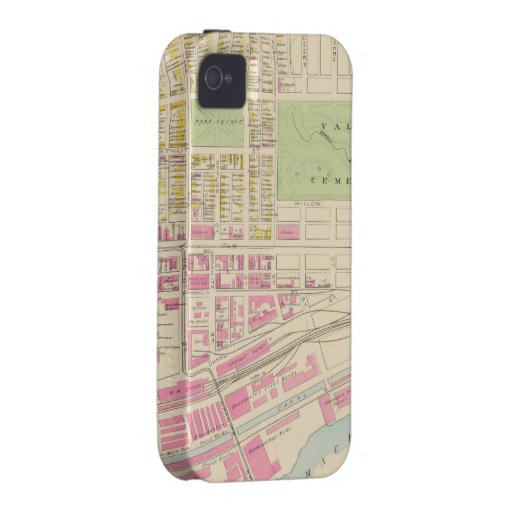 Vintage Map of Manchester NH (1892) (2) Case-Mate iPhone 4 Case