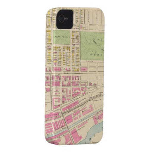 Vintage Map of Manchester NH (1892) (2) iPhone 4 Case-Mate Cases