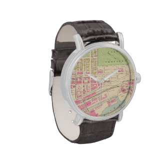 Vintage Map of Manchester NH (1892) (2) Wrist Watches