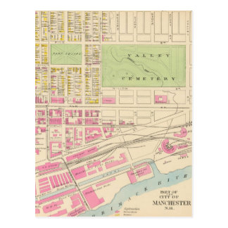 Vintage Map of Manchester NH (1892) (2) Postcard