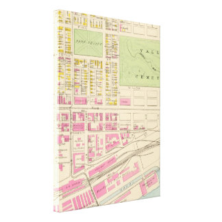 Vintage Map of Manchester NH (1892) (2) Stretched Canvas Print