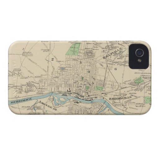 Vintage Map of Manchester NH (1892) iPhone 4 Case-Mate Cases