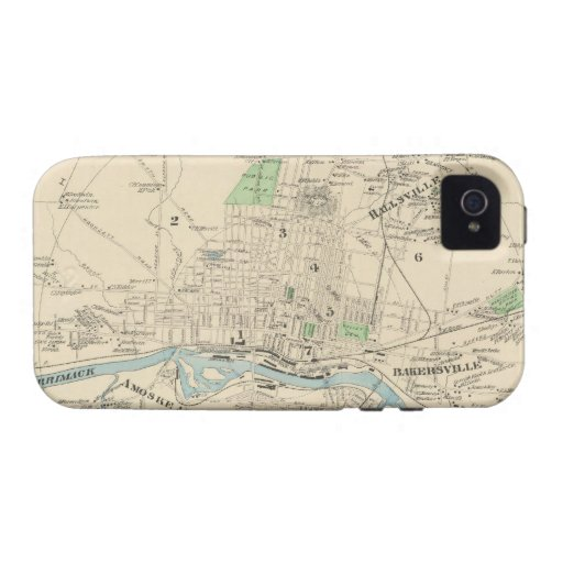 Vintage Map of Manchester NH (1892) Case-Mate iPhone 4 Cases