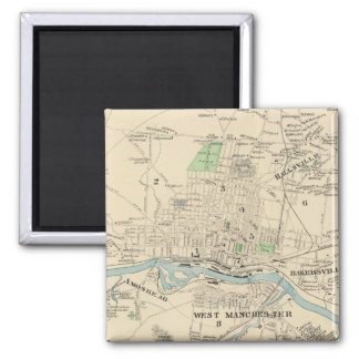 Vintage Map of Manchester NH (1892) Square Magnet