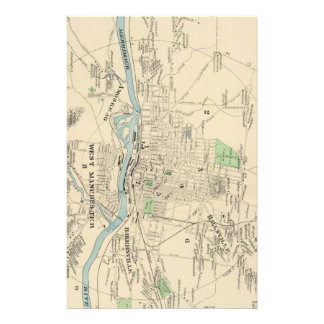 Vintage Map of Manchester NH (1892) Stationery Paper