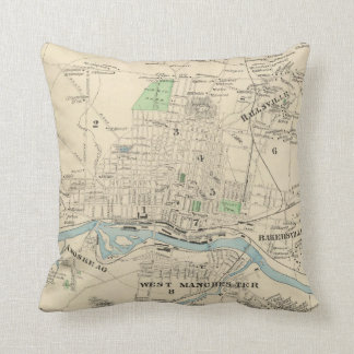 Vintage Map of Manchester NH (1892) Throw Cushions
