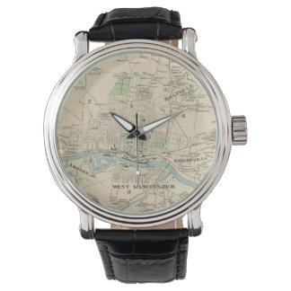 Vintage Map of Manchester NH (1892) Wristwatch