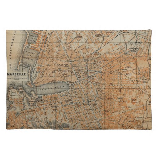 Vintage Map of Marseille France (1914) Place Mats