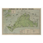 Vintage Map of Martha's Vineyard (1913) Poster