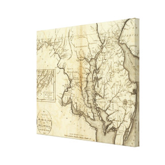 Vintage Map of Maryland (1796) Canvas Print