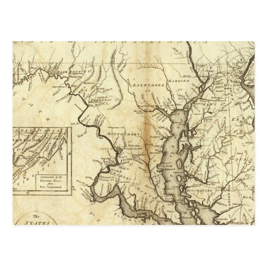 Vintage Map of Maryland (1796) Postcard