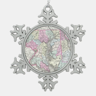 Vintage Map of Maryland (1855) Pewter Snowflake Decoration