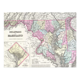 Vintage Map of Maryland (1855) Postcard