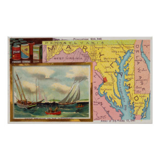 Vintage Map of Maryland with Illustrations (1890) Poster