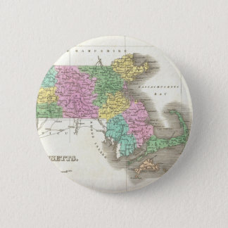 Vintage Map of Massachusetts (1827) 6 Cm Round Badge