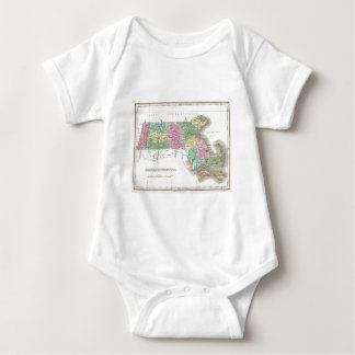 Vintage Map of Massachusetts (1827) Baby Bodysuit