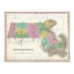 Vintage Map of Massachusetts (1827) Postcard