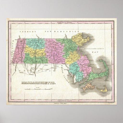 Vintage Map of Massachusetts (1827) Print