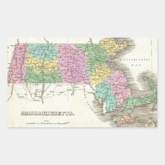 Vintage Map of Massachusetts (1827) Rectangular Sticker