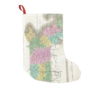 Vintage Map of Massachusetts (1827) Small Christmas Stocking