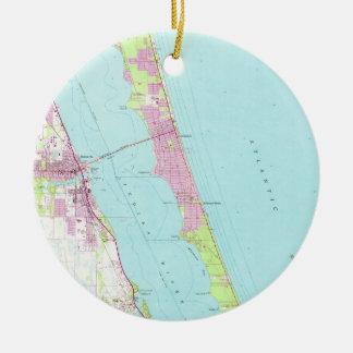 Vintage Map of Melbourne Florida (1949) Christmas Ornament