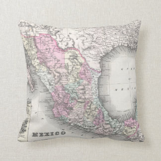 Vintage Map of Mexico (1855) Cushion