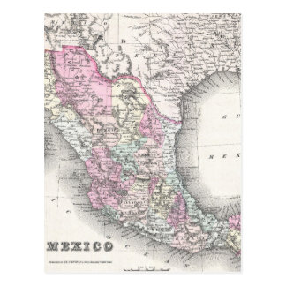 Vintage Map of Mexico (1855) Postcard