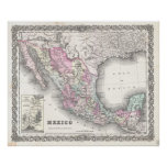 Vintage Map of Mexico (1855) Posters