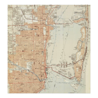 Vintage Map of Miami Florida (1950) Poster