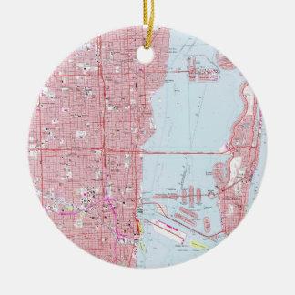 Vintage Map of Miami Florida (1962) Christmas Ornament
