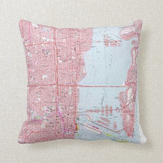 Vintage Map of Miami Florida (1962) Cushion