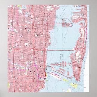 Vintage Map of Miami Florida (1962) Poster