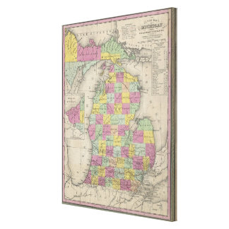 Vintage Map of Michigan (1853) Canvas Print