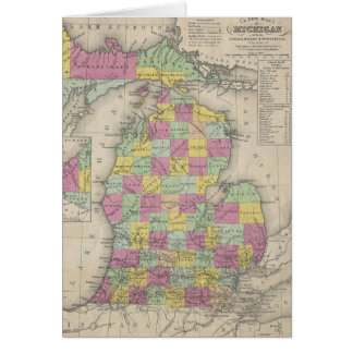 Vintage Map of Michigan (1853) Card