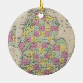 Vintage Map of Michigan (1853) Christmas Ornament