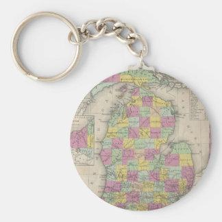 Vintage Map of Michigan (1853) Key Ring