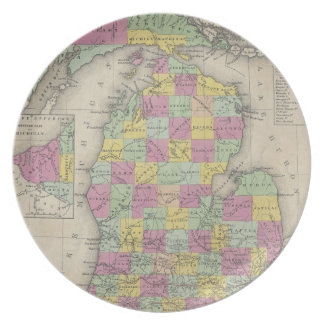 Vintage Map of Michigan (1853) Plate