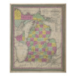 Vintage Map of Michigan (1853) Poster
