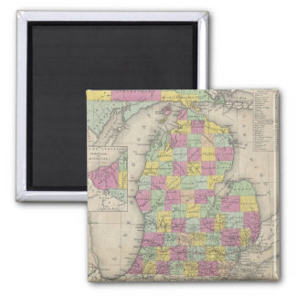 Vintage Map of Michigan (1853) Square Magnet