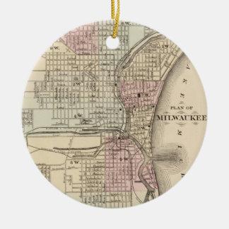 Vintage Map of Milwaukee (1880) Christmas Ornament