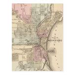 Vintage Map of Milwaukee (1880) Postcard