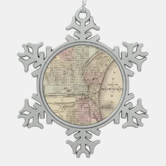 Vintage Map of Milwaukee (1880) Snowflake Pewter Christmas Ornament