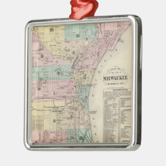Vintage Map of Milwaukee Wisconsin (1878) Silver-Colored Square Decoration
