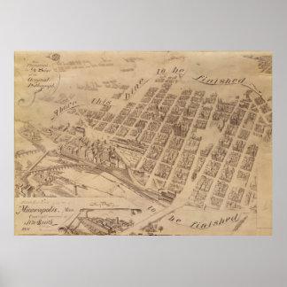 Vintage Map of Minneapolis MN (1891) 2 Poster