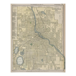 Vintage Map of Minneapolis MN (1891) Poster