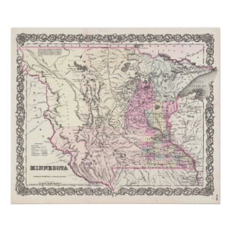 Vintage Map of Minnesota (1855) Poster