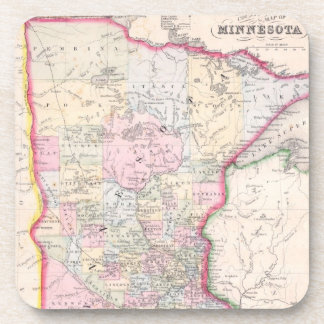 Vintage Map of Minnesota (1864) Coaster
